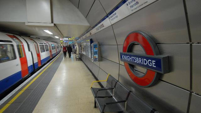 An image of the Knightsbridge, London Underground.