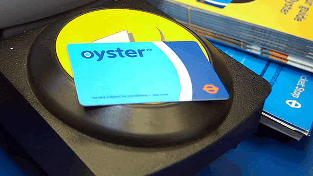 Oyster tap-and-go card used in London transport system