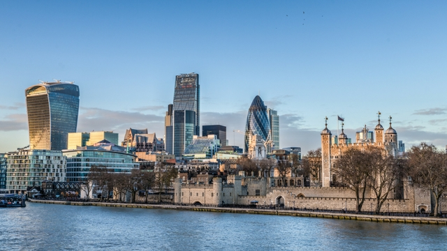London skyline, Gherkin and London Royal Palaces