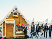 Commuters queue for a bite of Giant Gingerbread House - Shrek's Adventure! London
