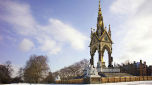 The Albert Memorial under the snow