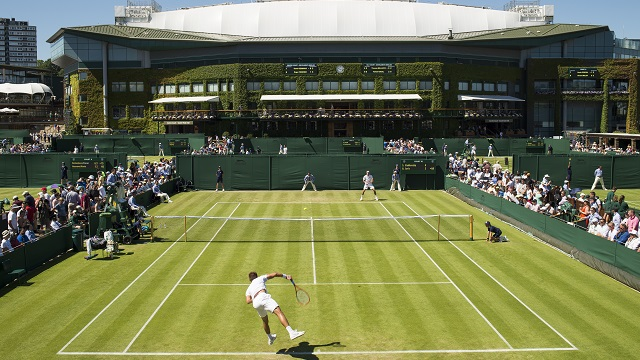 General View of Court 10 with sunny blue skies over Wimbledon. Sergiy ...