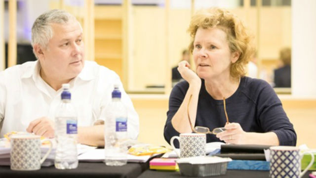 Conleth Hill and Imelda Staunton in rehearsals for Edward Albee's Who's Afraid of Virginia Woolf? Photo: Johan Persson