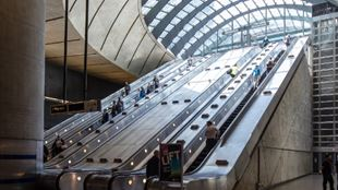 Escalators leading up to Canary Wharf