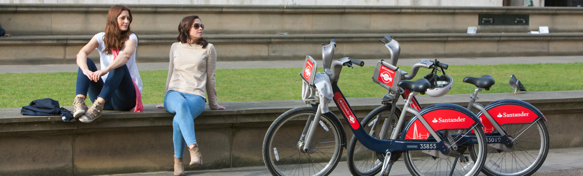 Two people on a day out in London with Santander Cycles