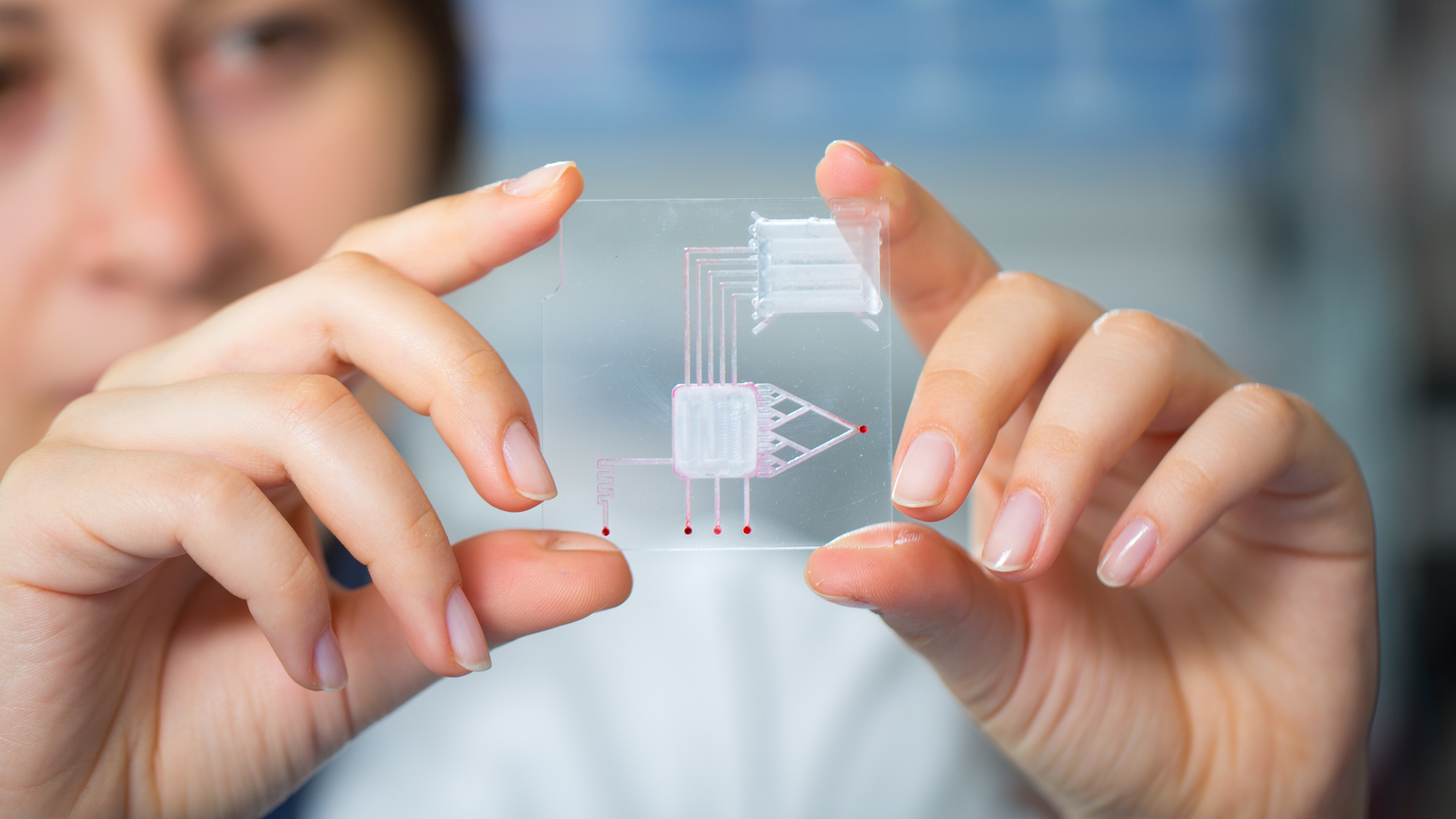 Two hands holding a biochip with the person's face in the background