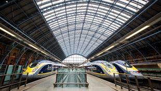 Eurostar trains next to each other at St. Pancras International. Credit: Eurostar