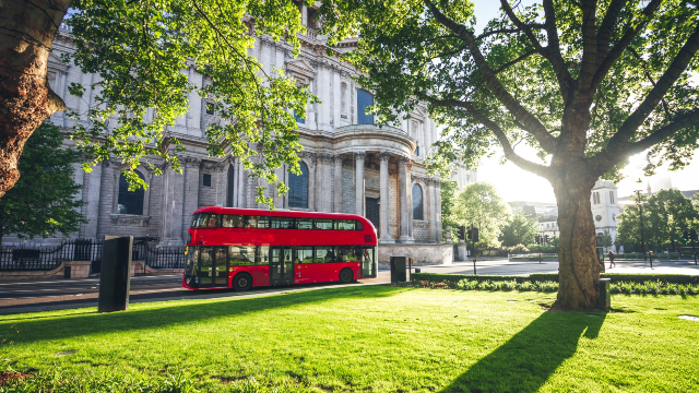 Bus passing by St Paul's Cathedral on a sunny day.
