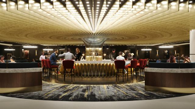 People enjoying drinks at the bar on Hard Rock Hotel London.