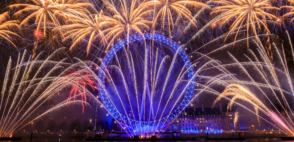 New Year fireworks show at the London Eye.