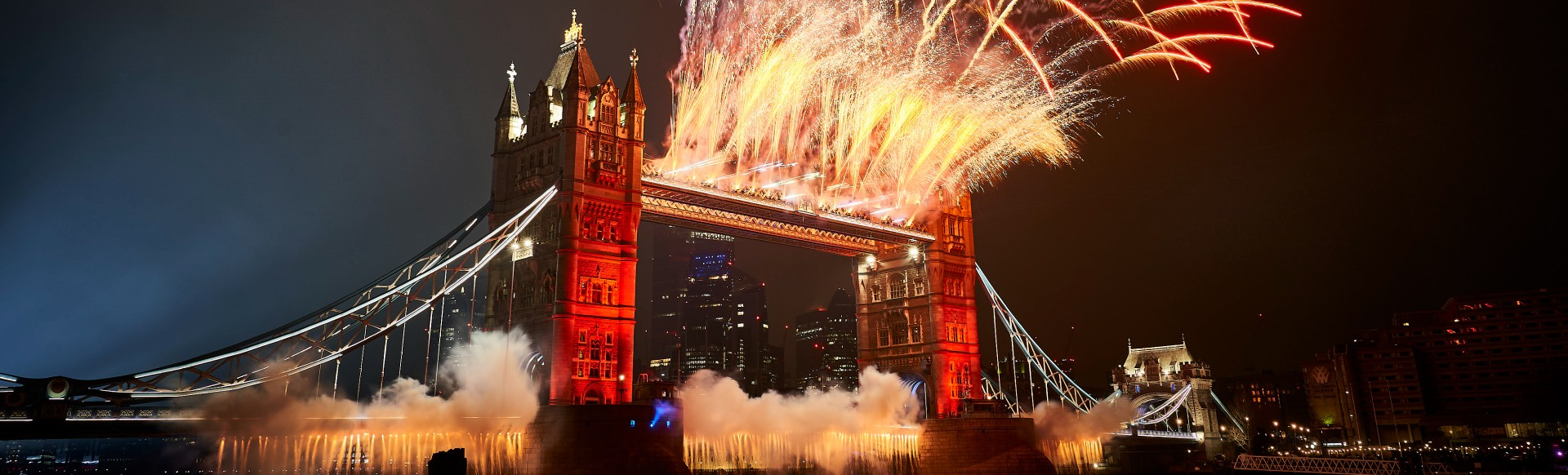 View of London's spectacular New Year's Eve fireworks over Tower Bridge.