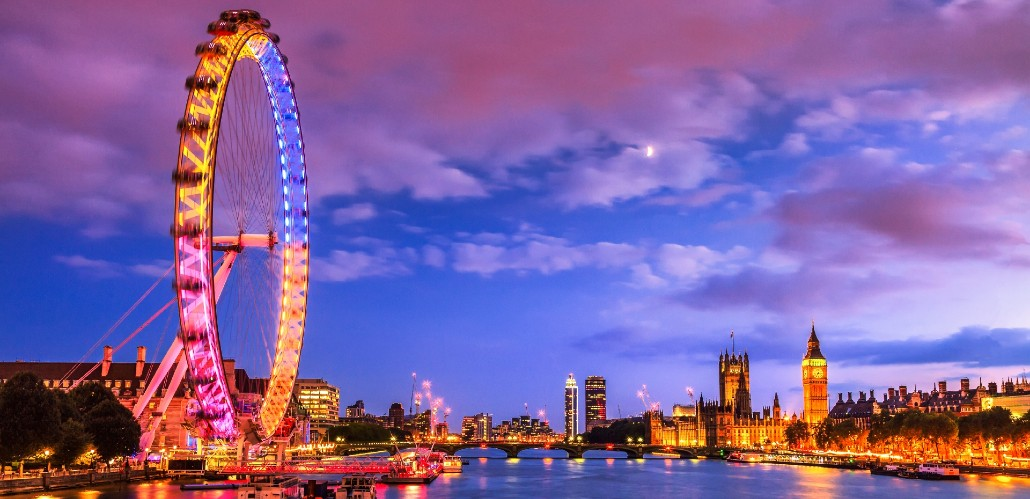 London skyline at dusk with Big Ben and the London Eye.