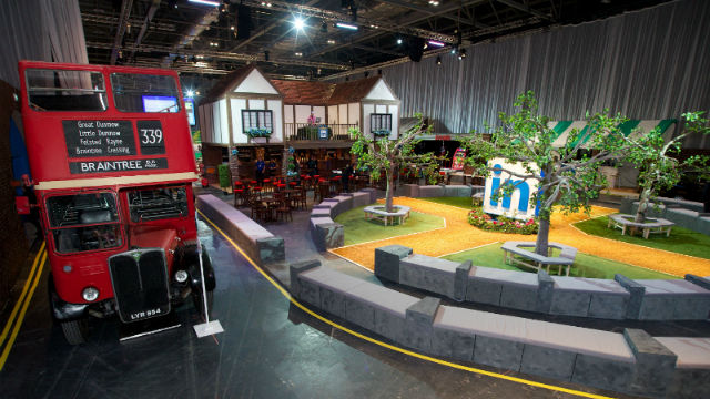 A mock up of London with a bus and pub in ExCeL London's conference venue