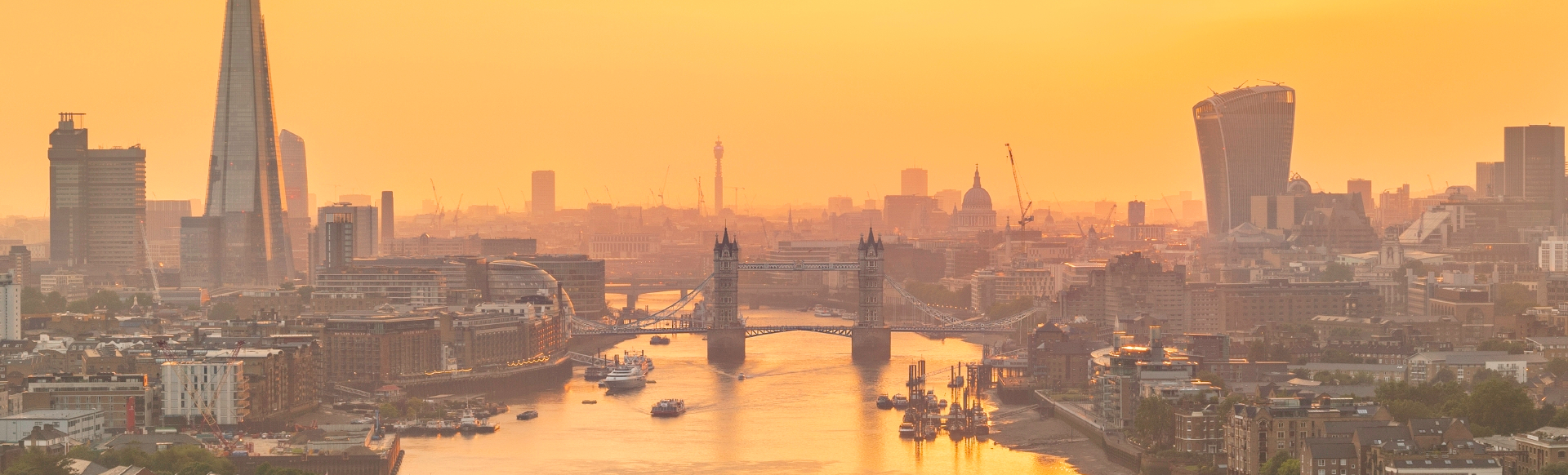 View of the London skyline, including the Shard and Tower bridge
