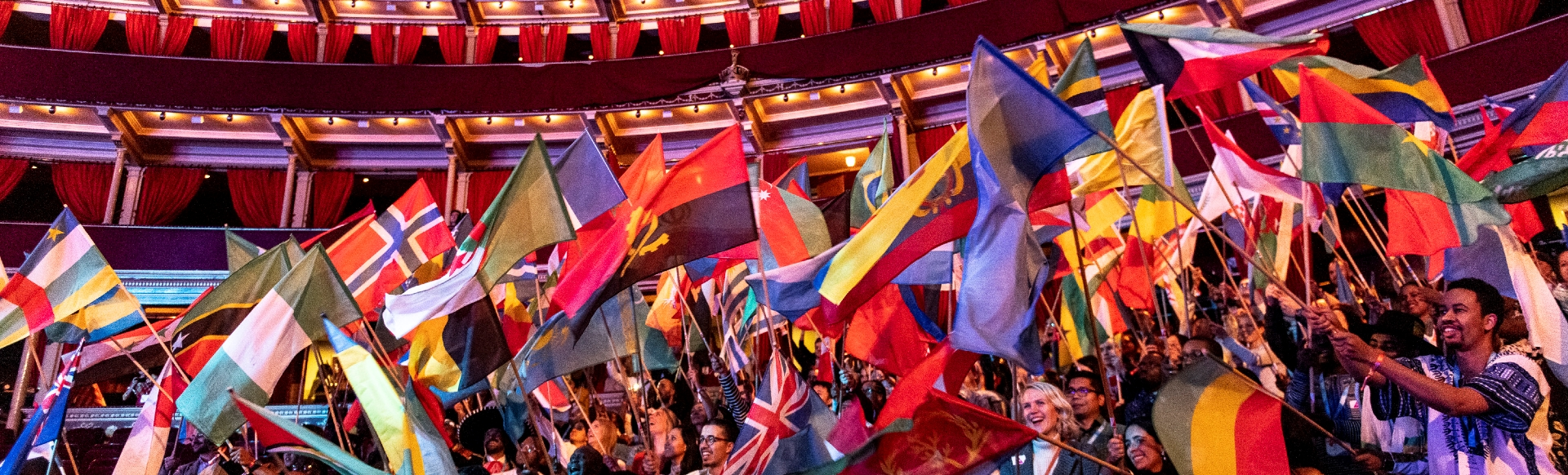 A selection of world flags being waved in the air in the event hall.