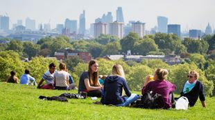 A group of people sitting in a green and sunny park at Hampstead Heath with the London skyline in the background.