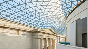 The British Museum glass ceiling from the inside.