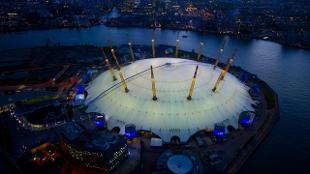 The O2 dome from above at night time