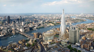 Birds view of London with the Shard and London Bridge