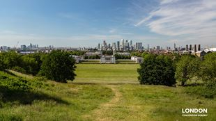 Greenwich Park with the London Skyline in the far back and green space all around.