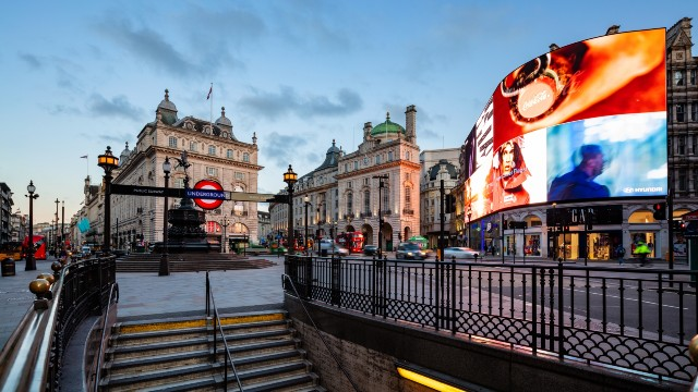 A sunrise view over Piccadilly Circus and its underground station in London.