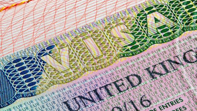 A close-up of a UK visa
