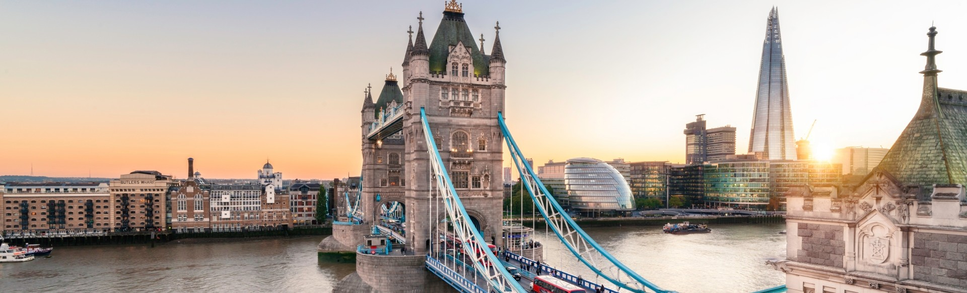 Sunset over Tower Bridge and the river Thames.