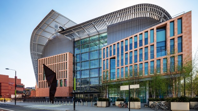 The Crick Institute's main entrance on a sunny day in London.