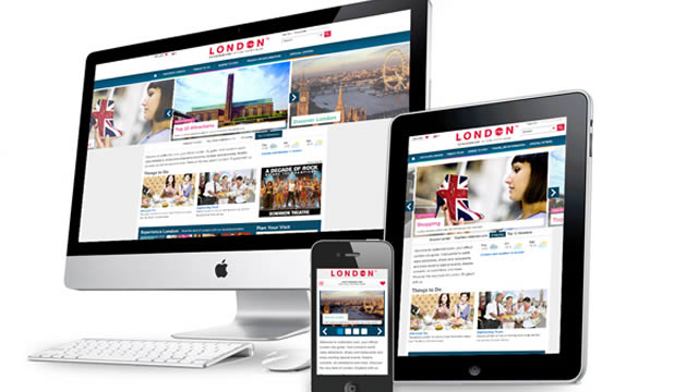 A selection of desktop, tablet and mobile screens displaying the visitlondon.com website.