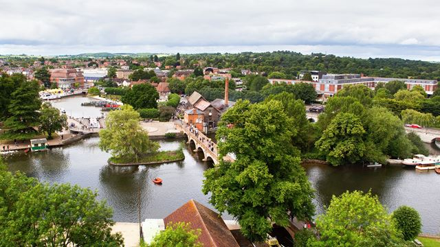 aerial view of Stratford-upon-Avon with the River Avon