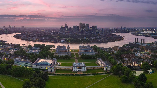 Panoramic view of Greenwich and the river Thames at sunset.