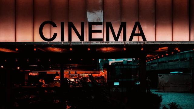 BFI Southbank cinema sign glows during the evening