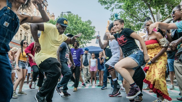 Hip hop dancers performing in the streets of London.