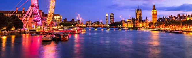A view across the Thames at night, including the London Eye