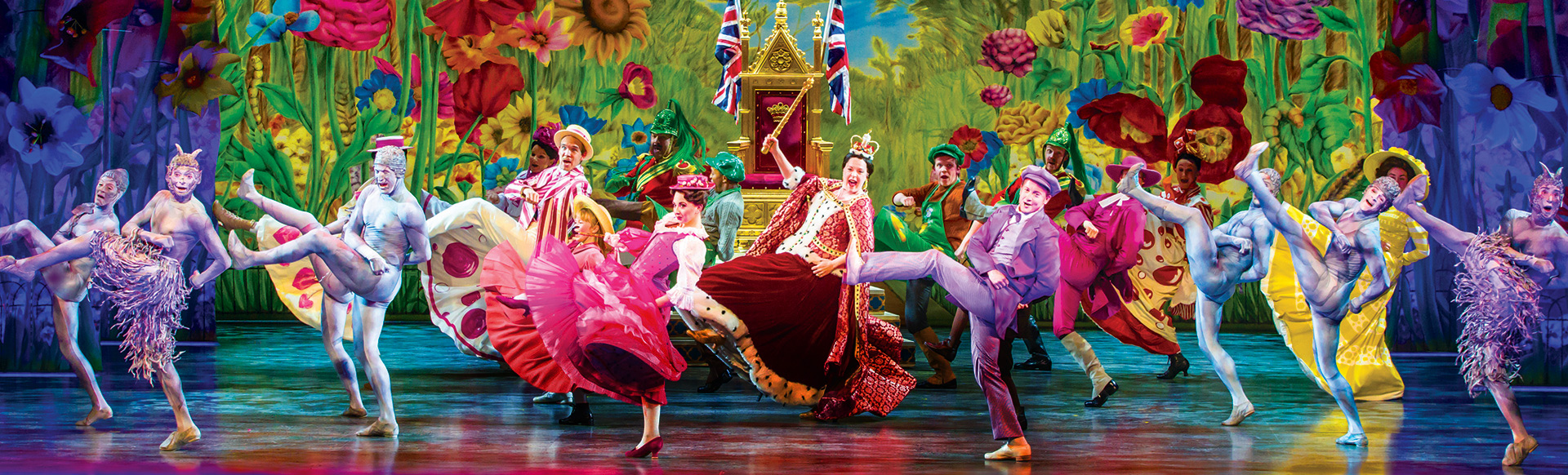 Cast of Mary Poppins The Musical dancing on stage