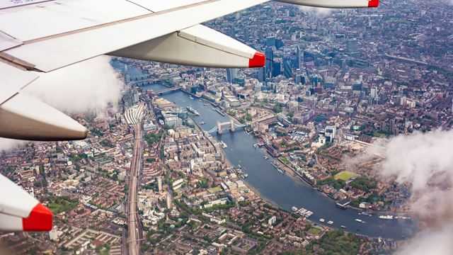 An airplane view of London.