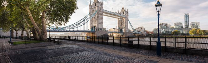 A view of Tower Bridge with a cobbled walkway, lamp-post and tree in the foreground.