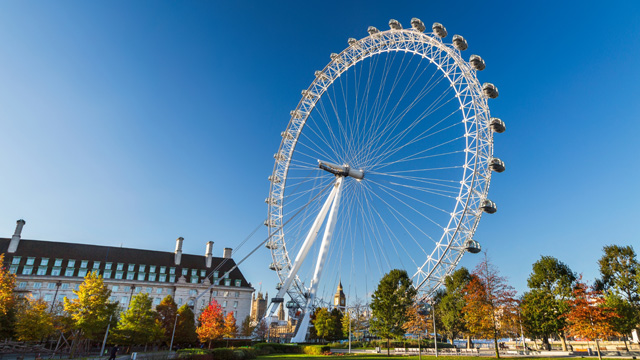The large wheel of the Coca-Cola London Eye set against a bright blue sky
