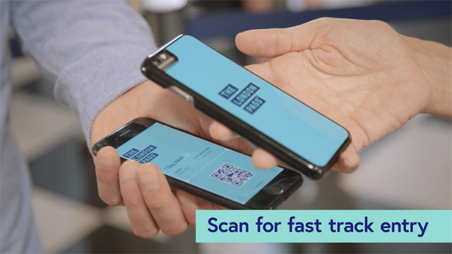 Using The London Pass mobile pass to scan for fast track entry