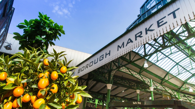 A leafy orange tree stands in front of Borough Market with clear skies in the background.