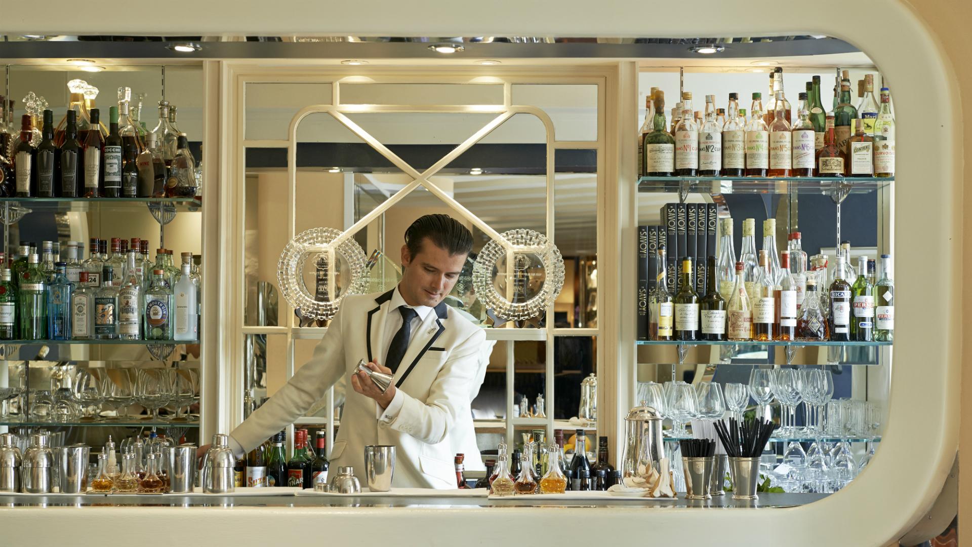 Bartender at the American Bar at The Savoy Hotel