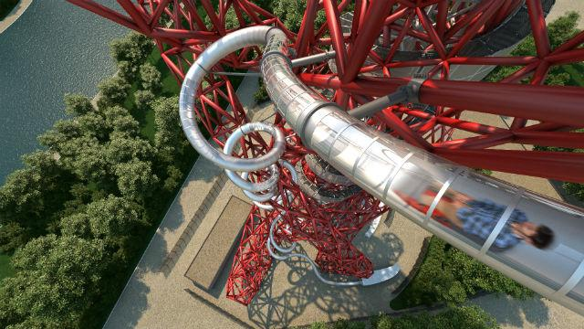 An aerial view of The Slide at ArcelorMittal Orbit, with a customer on the slide. Image courtesy of ArcelorMittal Orbit
