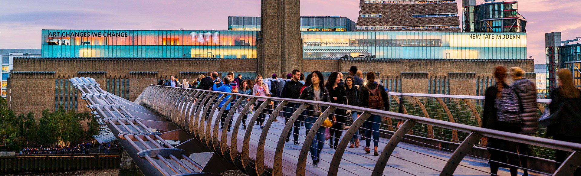 A view of Tate Modern and the Millennium Bridge from across the river Thames. © London and Partners/Jon Reid