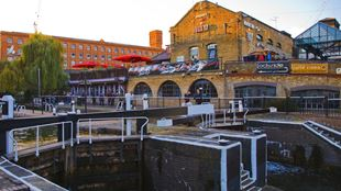 Camden Lock with bars and pubs in the background