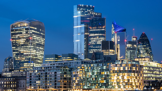 The City of London's cityscape at twilight