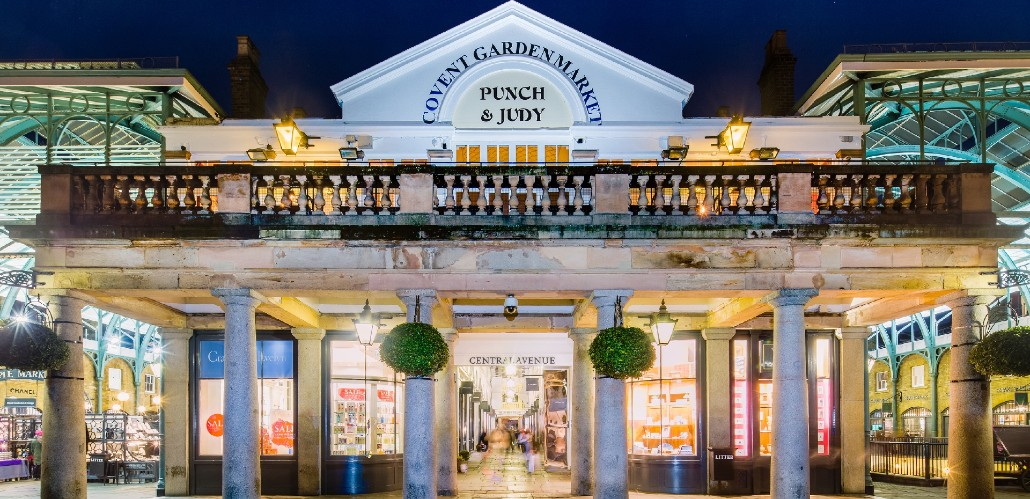 The entrance to Covent Garden's market at night time.
