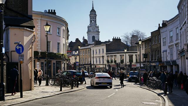 Greenwich High Street on a sunny day.