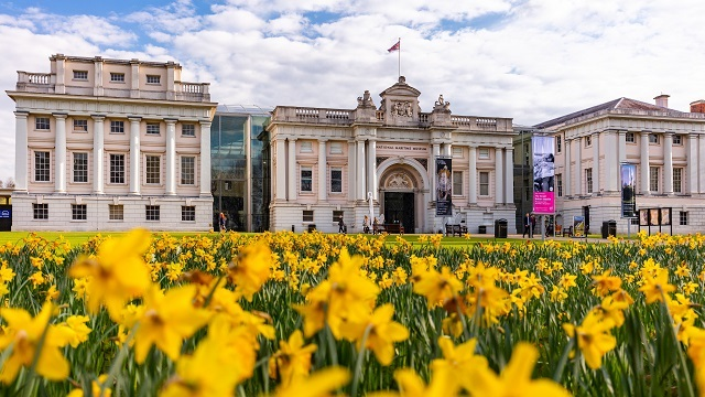 Daffodils fill the lawn outside the National Maritime Museum in Greenwich.