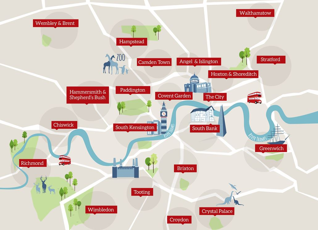 Map Of London With Neighborhoods.London Areas Map Visitlondon Com