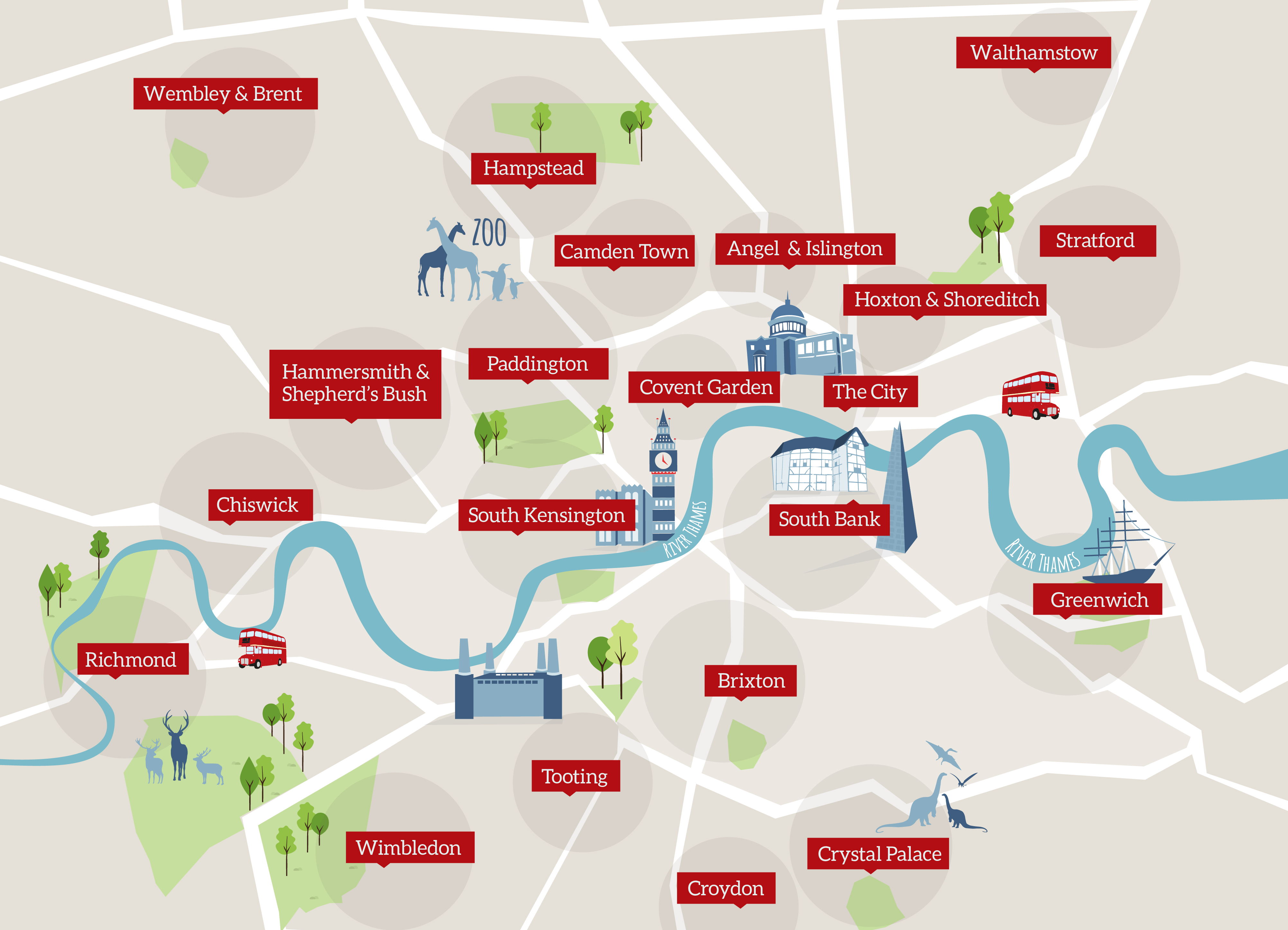 London areas map including outer boroughs